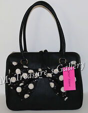 New Betsey Johnson Sequin Bow E/W Satchel Handbag Purse Shoulder Bag Black