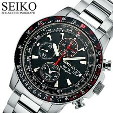 Seiko SSC007 Solar Black Dial Aviation Flight Computer Alarm Chronograph S/S