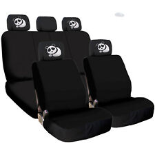 New Black Flat Cloth Car Seat Covers and Panda design Headrest Cover for NISSAN