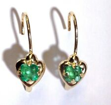 Cute! Vivid .40CTW Natural Colombian Emerald 14K Gold Leverback Heart Earrings