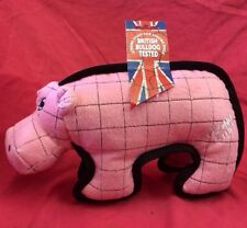 Dog Toy Squeaky Super Strong Tough Pig Bull Dog Tested 12 Inches Triple Fabric