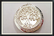 "Lacy SILVER PLATED Photo Locket TREE OF LIFE on Sterling 18"" Chain Necklace"