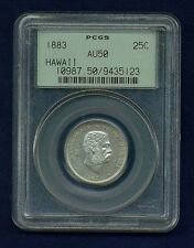 HAWAII  1883 QUARTER-DOLLAR/ 25 CENTS ALMOST UNCIRCULATED CERTIFIED PCGS AU50