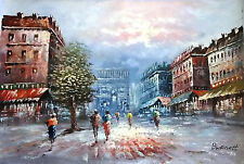 French City Center Paris Street 24 x 36 Hand Painted Oil Painting Canvas