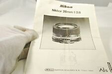 Nikon Nikkor 28mm f2.8 Ais Lens AIS guide manual Booklet 7219073
