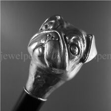 WALKING STICK CANE SILVER - MOPS - SOLID 925 STERLING SILBER -SPAZIERSTOCK