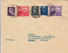 20c+50c FERROVIE+7 1/2c+15c+35c IMPERIALE-Busta Milano- Zurigo 20.4.1940