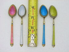 Set of 4 David Andersen Norway Sterling & Enamel Demitasse Spoon Gold Wash