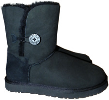 UGG Australia Bailey Button Boot Fur Lined Shoe 8- 39 in Black NEW