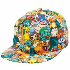 Pokemon All Over Sublimated Print Snapback Hat Cap Pikachu Charizard