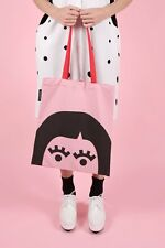 THE WHITEPEPPER Hipster Pink Canvas Fabric Bag Face Design Bag For Life #2V31