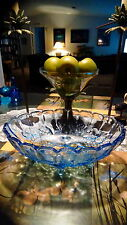 Indiana glass large footed fruit bowl Harvest Grape clear blue