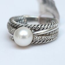 New DAVID YURMAN 8-8.5mm Pearl Crossover Ring Narrow Pearl Diamond Silver Size 7