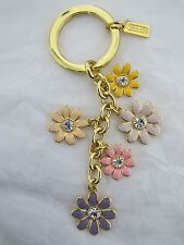 New Coach Flower Mix Charm Crystal Keyfob Keyring Keychain