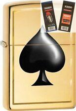 Zippo 29094 ace of spades brass Lighter with *FLINT & WICK GIFT SET*