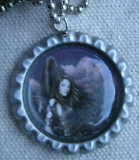 pretty Dark Angel Necklace,round cap style,steel,ball chain -fantasy,magic,wings