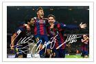 LUIS SUAREZ NEYMAR JR & LIONEL MESSI FC BARCELONA SIGNED PHOTO PRINT SOCCER
