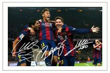 LUIS SUAREZ NEYMAR JR & LIONEL MESSI FC BARCELONA SIGNED PHOTO PRINT SOCCER