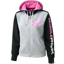 MusclePharm Donna Full Zip Felpa Con Cappuccio Piccolo Gym Felpa TRAINING MP NERO GRIGIO