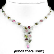 LUXURY NATURAL PEAR TOP FANCY COLORS TOURMALINE-W. CZ 925 SILVER NECKLACE 19ins