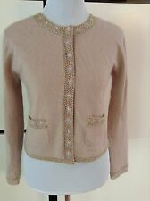 Moschino Cheap Chic Angora Cardigan Sweater lilac embroidered beaded flowers 8