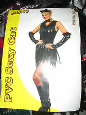 SEXY PVC BLACK CAT OUTFIT SIZE 10/14 BY SMIFFYS FREE P+P  FOR PARTY OR HEN DO