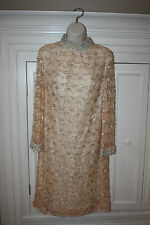 DE PAUL VINTAGE LACE SEQUINS BEADED LIGHT PEACH Dress Size M