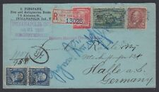1896 reg cover to Germany unusual mixed 1st Bureau Issues franking, 3c Columbian