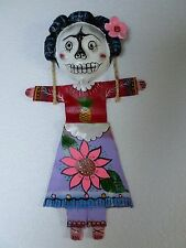 Mexican Folk Art Hand Painted Coconut Shell Seed Pod Fabric Day of Dead Girl 17""
