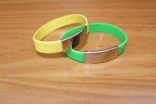 FREE ENGRAVING (PERSONALIZED) Green Yellow Rubber Silicone Bracelet