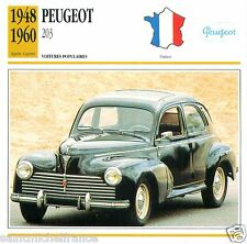 PEUGEOT 203 1948 1960 CAR VOITURE FRANCE CARTE CARD FICHE