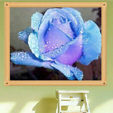 DIY 5D Diamond Embroidery Painting Blue Rose Flower Cross Stitch Home Decor
