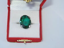 Vintage Sterling Silver Costume Green Emerald Cocktail Ring