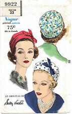 Fabric Sewing Pattern Designer Sally Victor VOGUE # 9922 Millinery Cap Hat 22""