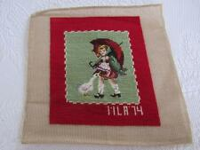 Vtg Wool GIRL & UMBRELLA Needlepoint PETIT POINT Canvas COMPLETED Morton Salt