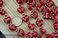 "Mother's Day/Valentine Red Heart w/White ""Love"" Lampwork Glass Bead;12 Beads"