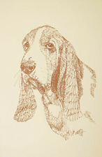 BASSET HOUND DOG ART PRINT Kline Lithograph #244 Your dogs name added free. GIFT