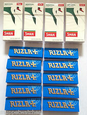 4 x SWAN MENTHOL EXTRA SLIM Tips (480) & 10 Booklets of RIZLA BLUE PAPERS (500)