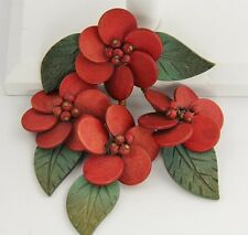 VINTAGE Jewelry MIRIAM HASKELL WWII ERA RED WOOD FLOWER & GREEN LEAF BROOCH