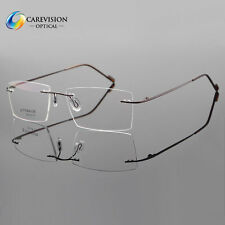 Rimless β-Titanium Eyeglass Frame Mens Ultra light RX Glasses Spectacles Brown