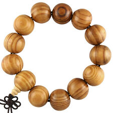 18mm Big Tibet Chinese Buddhist Wood Monk Mala Bracelet Prayer Kung Fu Bead