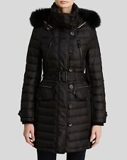 2016 Burberry Brit Pipleigh Down Puffer Coat Jacket with Fur Hood M $1395