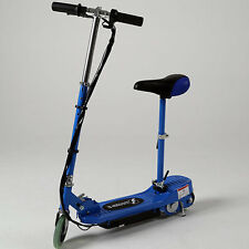 BLUE ELECTRIC SCOOTER ESKOOTER ADJUSTABLE HEIGHT REMOVABLE SEAT STAND SIT KIDS