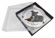 Staffie (B+W) Rose 'Love You Mum' Glass Paperweight in Gift Box , AD-SBT6R2lymPW