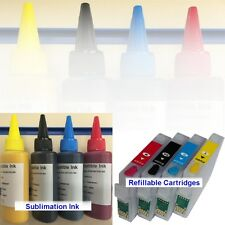 4*100ml SUBLIMATION INK + REFILLABLE CARTRIDGES EPSON WORKFORCE WF 2010W NON OEM
