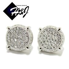 MEN 925 STERLING SILVER ROUND 10MM LAB DIAMOND ICED OUT BLING STUD EARRING