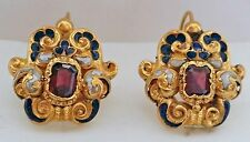RARE FINE EARLY GEORGIAN 18thC NATURAL PEARLS ENAMEL ONE OF A KIND 18K EARRINGS