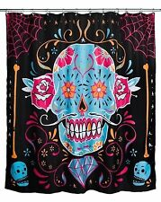 TOO FAST CALAVERA SHOWER CURTAIN Day Of Dead Sugar Skull Spider Web Diamond Rose