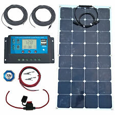 100W Flexible Solar - Panel, USB Charge Controller, Cables + Fuse & Holder