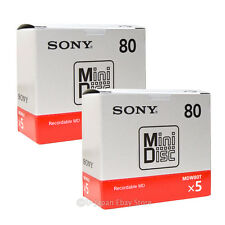 New! 10 Sony MD80 Blank Mini Disc 80 Minutes Recordable MD Japan Genuine